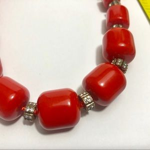 J. Crew chunky red bead /rhinestone necklace